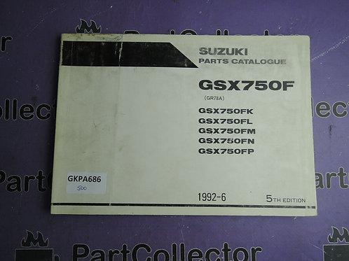 1992-6 SUZUKI GSX750F PARTS CATALOGUE 9900B-30069-040