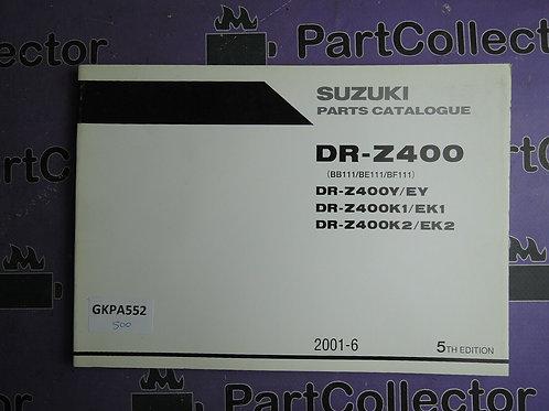2001-6 SUZUKI DR-Z400 PARTS CATALOGUE