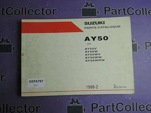 1998-2 SUZUKI AY50 PARTS CATALOGUE 9900B-35E99-010