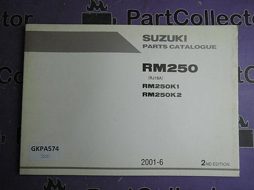 2001-6 SUZUKI RM250 PARTS CATALOGUE 9900B-28043-010