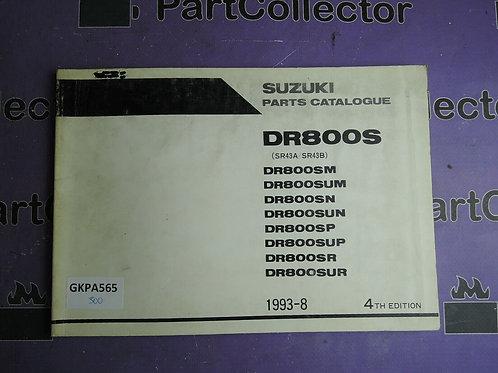 1993-8 SUZUKI DR800S PARTS CATALOGUE 9900B-30084-030
