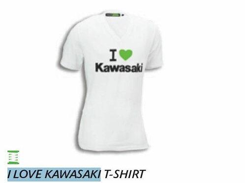 KAWASAKI T-SHIRT I LOVE KAWASAKI L LARGE WHITE GENUINE 177SPM0503 NOS