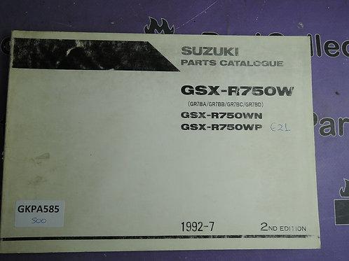 1992-7 SUZUKI GSX-R750W PARTS CATALOGUE 9900B-30089-010
