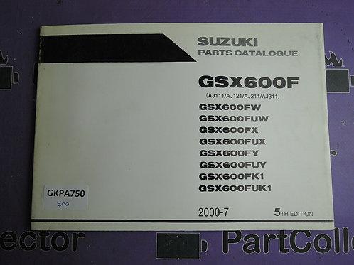2000-7 SUZUKI GSX600F PARTS CATALOGUE 9900B-30119-030