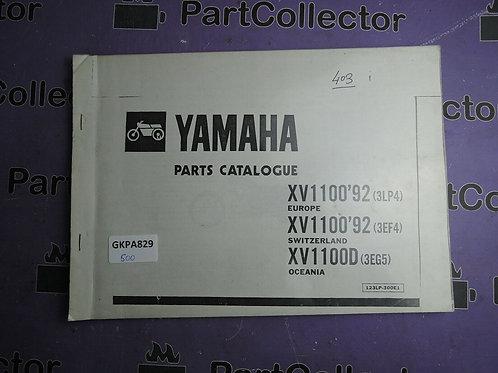 1992 YAMAHA BOOK XV1100 PARTS CATALOGUE 123LP-300E1