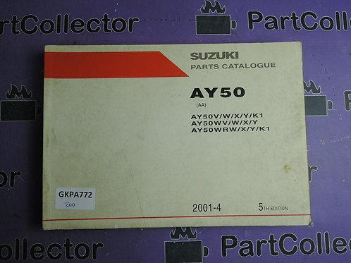 2001-4 SUZUKI AY50 PARTS CATALOGUE 9900B-35E00-040
