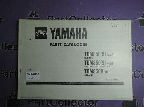 1991 YAMAHA TDM 850 BOOK PARTS CATALOGUE 113VD-300E1