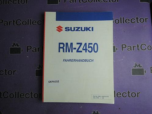 SUZUKI 2006 FAHRERHANDBUSH RM-Z450 99011-35G52-01K