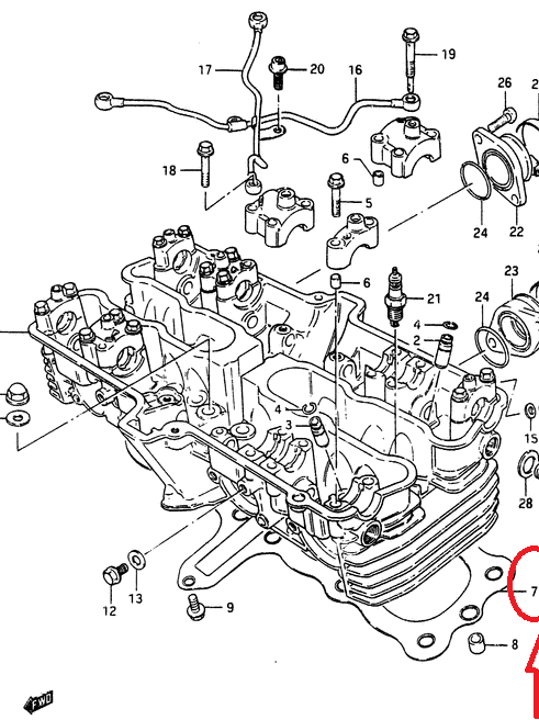 SUZUKI GSX750 S ES E GS700E 1984-1986 GASKET CYLINDER HEAD 11141-31302 NOS