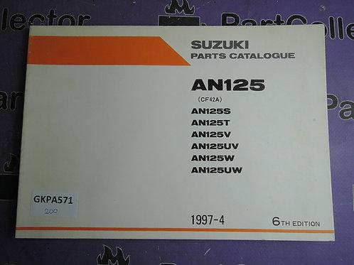 1997-4 SUZUKI AN125 PARTS CATALOGUE 9900B-20060-030