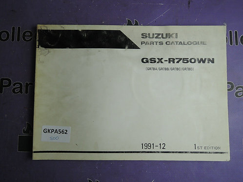 1991-12 SUZUKI GSX-R750WN PARTS CATALOGUE 9900B-30089