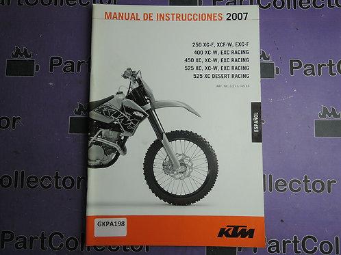2007 KTM 250XC-F XCF-W EXG-F MANUALDE INSTRUCCIONES 3.211.145ES