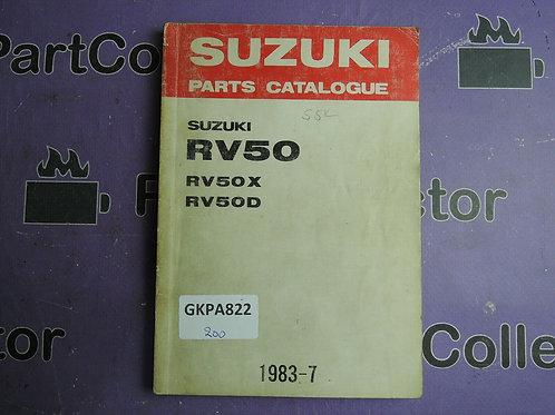1983 SUZUKI RV50 PARTS CATALOGUE 9900B-10007