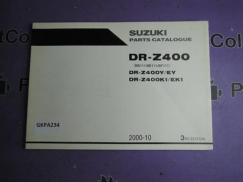 2000-2010 SUZUKI DR-Z400 PARTS CATALOGUE 9900B-30132-00