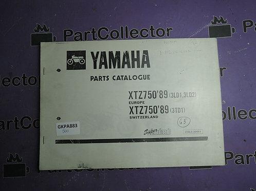 1989 YAMAHA XTZ 750 BOOK PARTS CATALOGUE 193LD-300E1