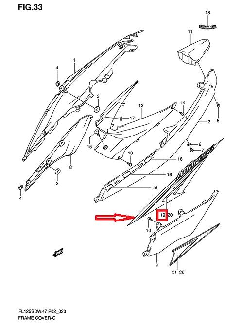 SUZUKI ADDRESS UX125 2007 DECAL REAR RIGHT BLACK SILVER 68135-16H10-YNJ NOS