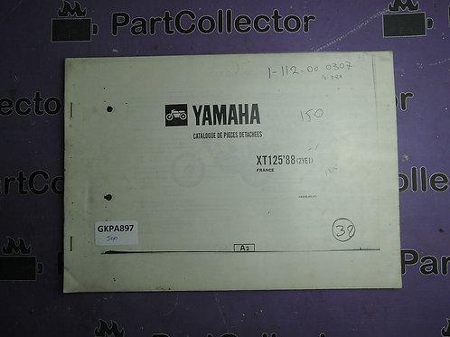 1988 YAMAHA XT 125 BOOK PARTS CATALOGUE 182YE-351F1