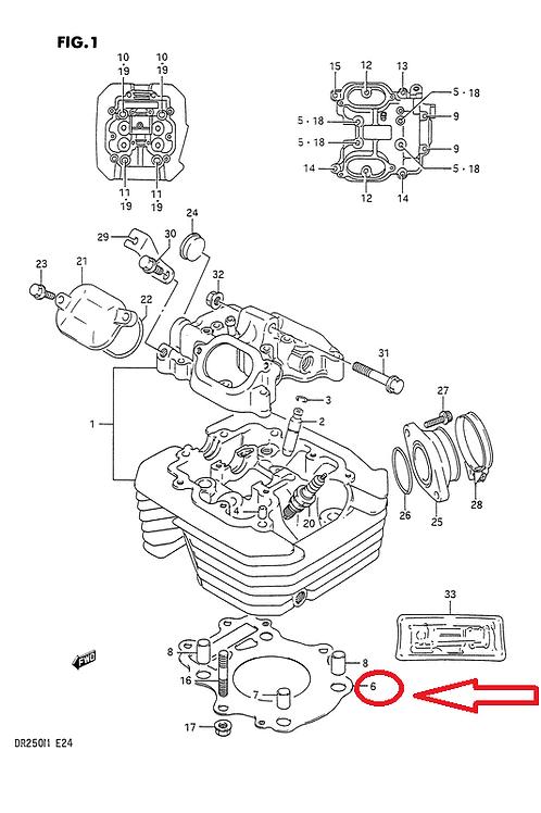 SUZUKI DR250SE DR250 1990-1995 GASKET CYLINDER HEAD 11141-15D01 NOS