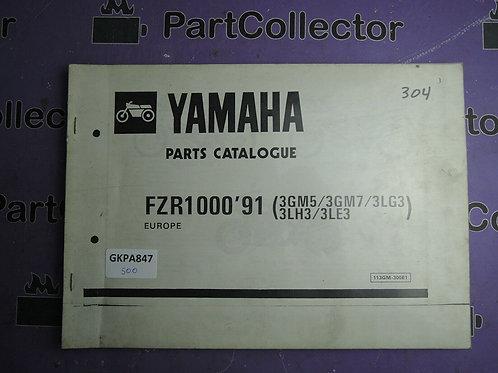 1991 YAMAHA FZR1000 BOOK PARTS CATALOGUE 113GM-300E1