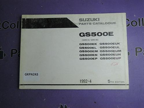 1992-4 SUZUKI GS 500E PARTS CATALOGUE 9900B-30071-040