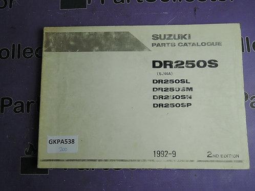 1992-9 SUZUKI  DR250S PARTS CATALOGUE 9900B-28027-010