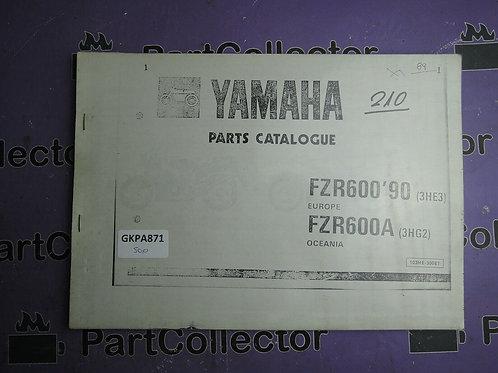 1990 YAMAHA FZR 600 BOOK PARTS CATALOGUE 103HE-300E1