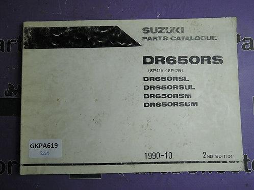 1990-10 SUZUKI DR650RS PARTS CATALOGUE 9900B-30074-010