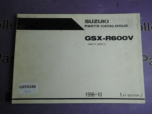 1996-10 SUZUKI GSX-R600V PARTS CATALOGUE 9900B-30113