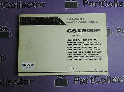 1992-6 SUZUKI GSX600F PARTS CATALOGUE 9900B-30065-050