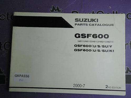 2000-7 SUZUKI GSF600 PARTS CATALOGUE 9900B-30133-010