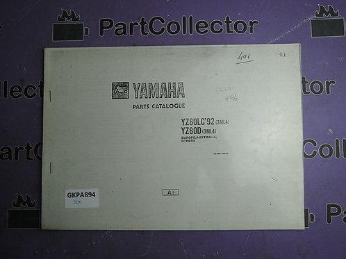 1992 YAMAHA YZ 80LC BOOK PARTS CATALOGUE 123ML-300E1