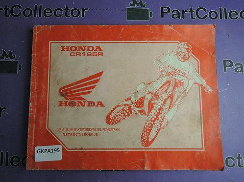 1992 HONDA MANUAL DE MANTENIMIENTO-DEL-PROPIETARIO 68KZ4610
