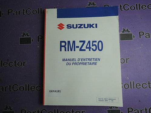 2007 SUZUKI RM-Z450 MANUEL D'ENTRETIEN DU PROPRIETAIRE 99011-28H50-01F