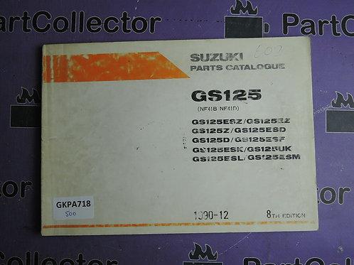 1990-12 SUZUKI GS125 PARTS CATALOGUE 9900B-20034-10