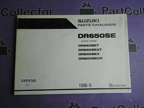 1996-5 SUZUKI DR650SE PARTS CATALOGUE 9900B-30102-010