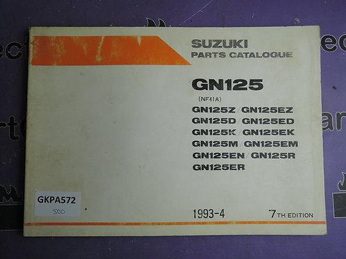 1993-4 SUZUKI GN125 PARTS CATALOGUE 9900B-20012-030