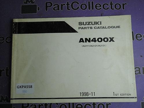 1998-11 SUZUKI AN400X PARTS CATALOGUE 9900B-30128