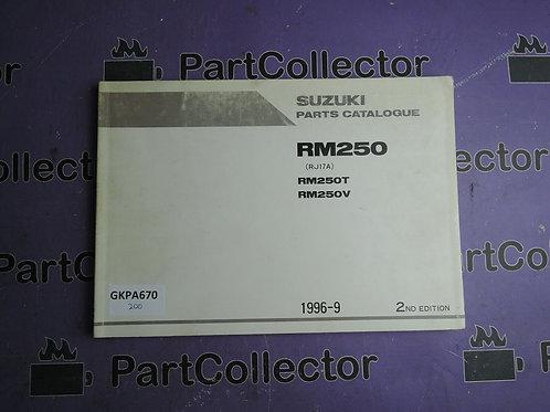 1996-9 SUZUKI RM250 PARTS CATALOGUE 9900B-28034-010
