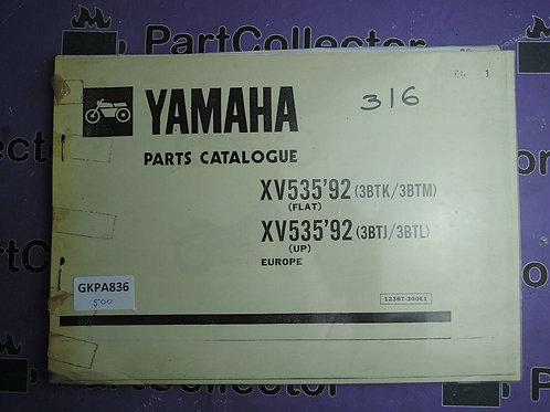 1992 YAMAHA XV535 BOOK PARTS CATALOGUE 123BT-300E1