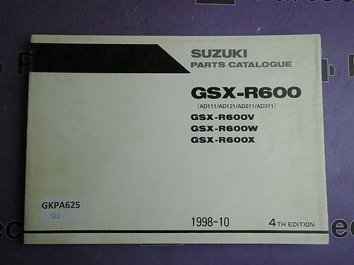 1998-10 SUZUKI GSX-R600 PARTS CATALOGUE 9900B-30113-020