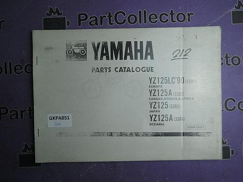 1990 YAMAHA YZ125LC BOOK PARTS CATALOGUE 103SR-100E1