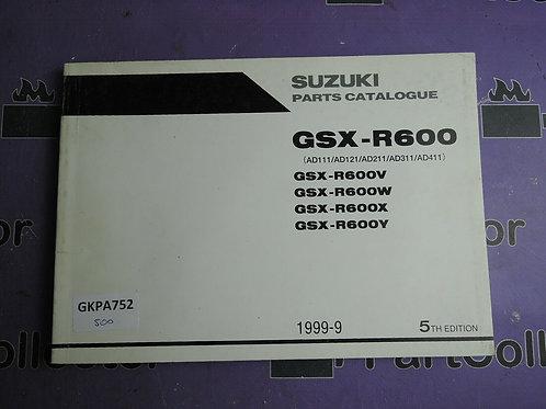1999-9 SUZUKI GSX-R600 PARTS CATALOGUE 9900B-30113-030