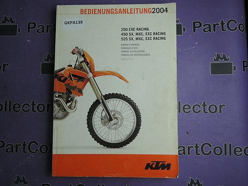 2004 KTM OWNER'S MANUAL 250EXC 450 525 SX MXC EXC P N321077