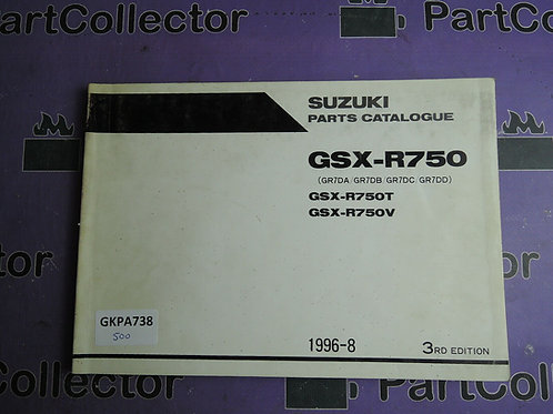 1996-8 SUZUKI GSX-R750 PARTS CATALOGUE 9900B-30103-010