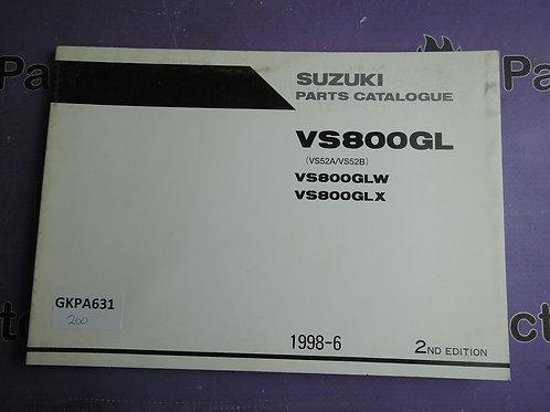 1998-6 SUZUKI VS800GL PARTS CATALOGUE 9900B-30117-010