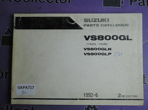 1992-6 SUZUKI VS800GL PARTS CATALOGUE 9900B-30088-010