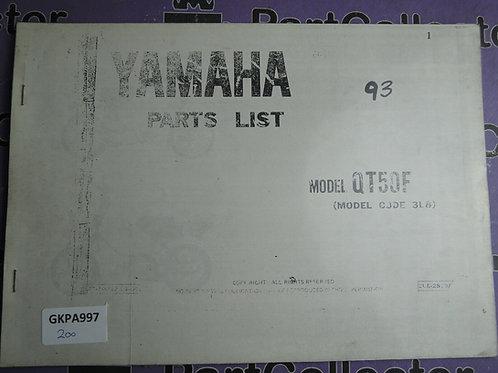 1993 YAMAHA QT 50F BOOK PARTS LIST