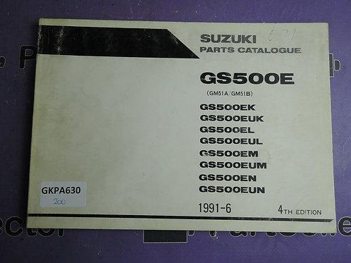 1991-6 SUZUKI GS500E PARTS CATALOGUE 9900B-30071-030
