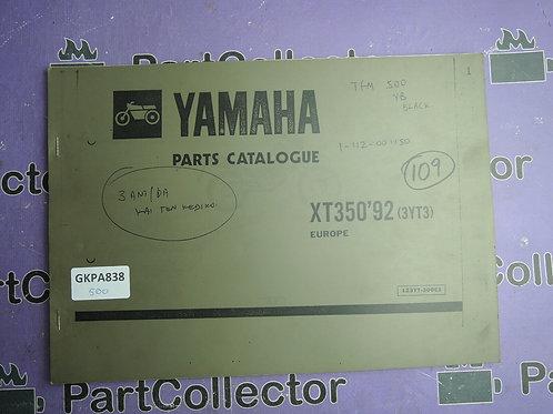 1992 YAMAHA XT350 BOOK PARTS CATALOGUE 123YT-300E1