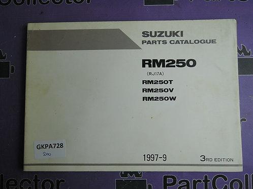 1997-9 SUZUKI RM250 PARTS CATALOGUE 9900B-28034-020